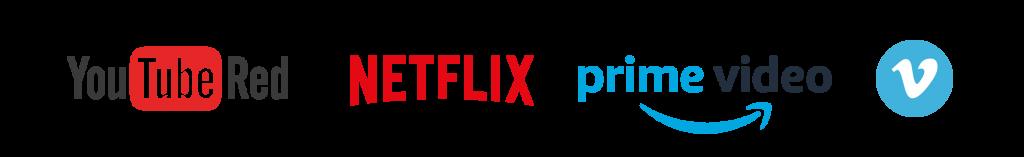 Netflix, Vimeo YouTube, Amazon Prime Video