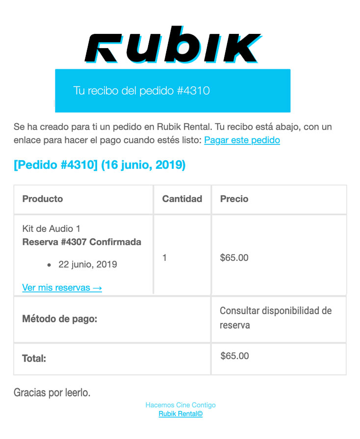 correo rubik rental
